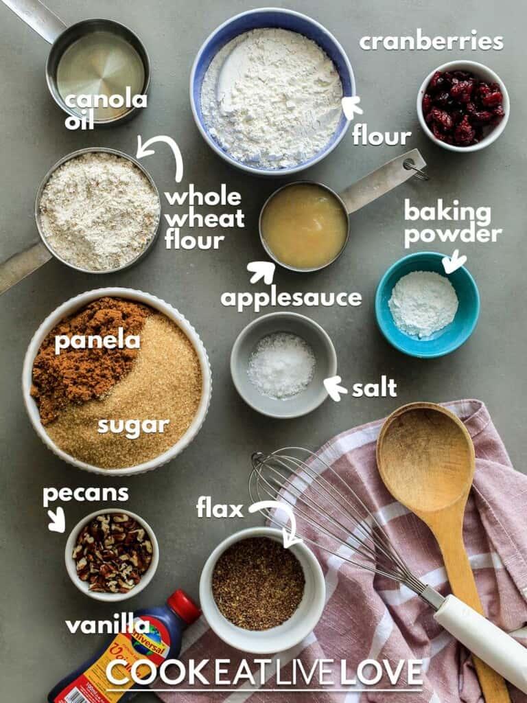 Ingredients to make vegan blondies on the table