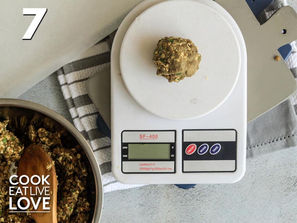 Weighing the vegan slider patty
