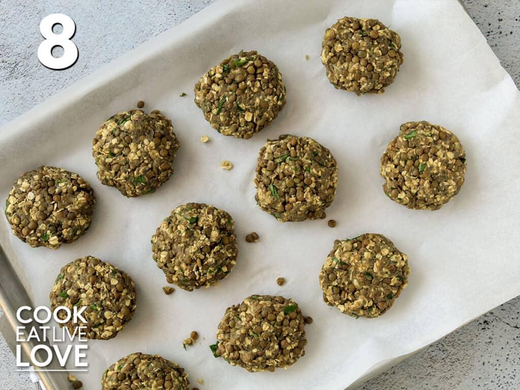 lentil sliders on baking sheet pan