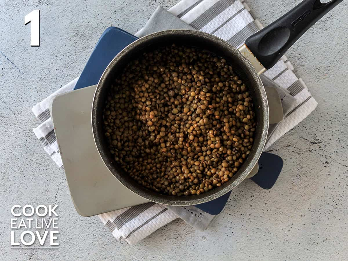 Cooked lentils in a pot