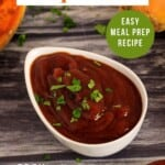 Pin for pinterest graphic with bbq sauce image and text