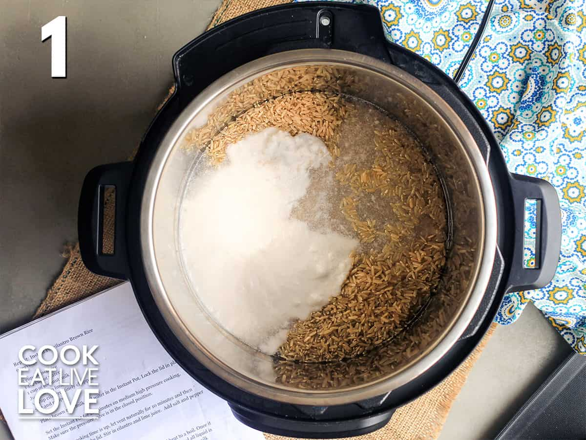 Adding the water, rice and milk to the instant pot