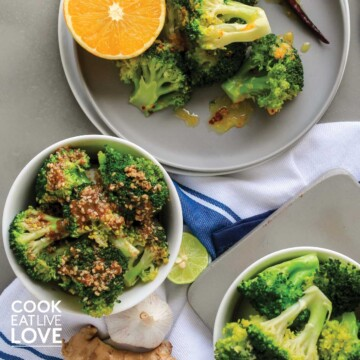 All three flavors of steamed broccoli instant pot on plates and bowls on the table