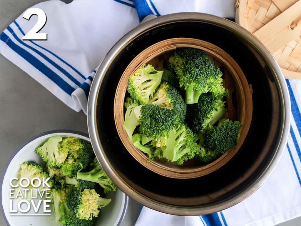 Broccoli in the steamer basket inside the Instant Pot