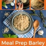Pin for pinterest graphic with different images of instant pot barley