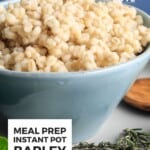 Pin for pinterest graphic with single image of instant pot barley cooked in a bowl