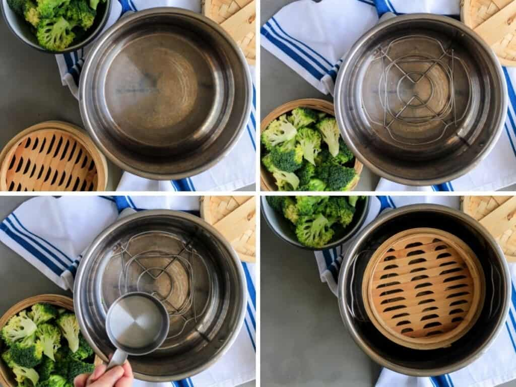 Collage of photos showing how to setup instant pot
