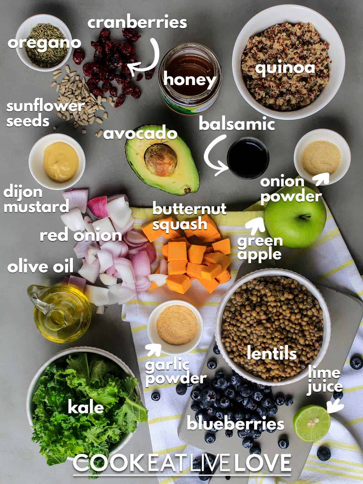 Ingredients to make nourish bowl on the table with text labels