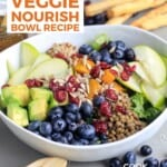 Pin for pinterest graphic with nourish bowl ready to eat and text