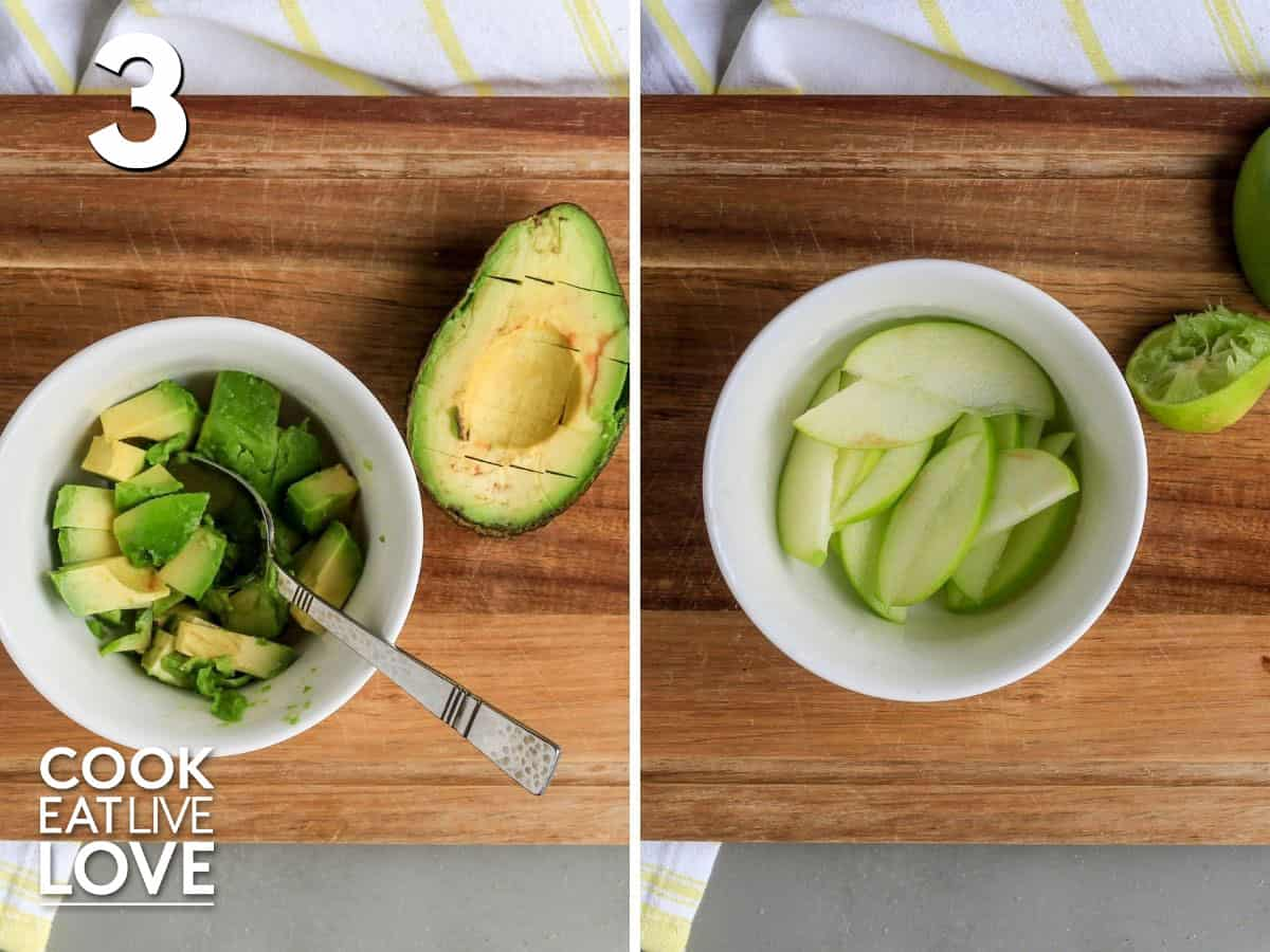 Cutting the avocado and apple for the nourish bowl