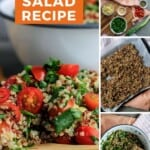 Pin for pinterest graphic with final and process shots of making quinoa salad