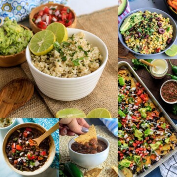 Collage of sides for fajitas including rice, beans and more