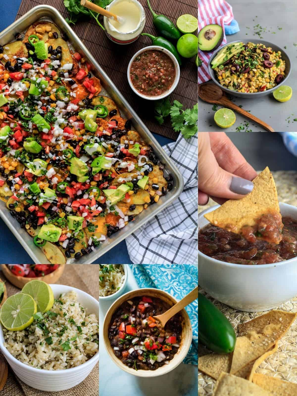 Collage of sides for fajitas including toppings and appetizers