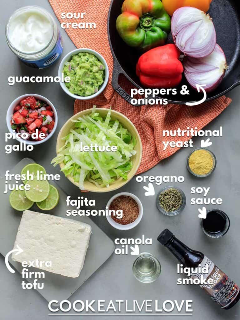 Ingredients to make tofu fajitas with text labels