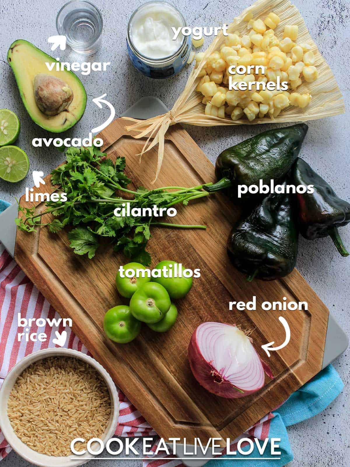 Ingredients to make vegetarian stuffed poblanos on table