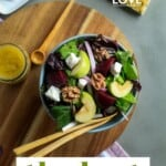 Pin for pinterest graphic with bowl of roasted beetroot salad on the table