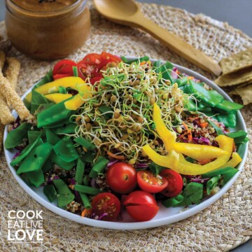 Salad topped with lentil sprouts on a plate