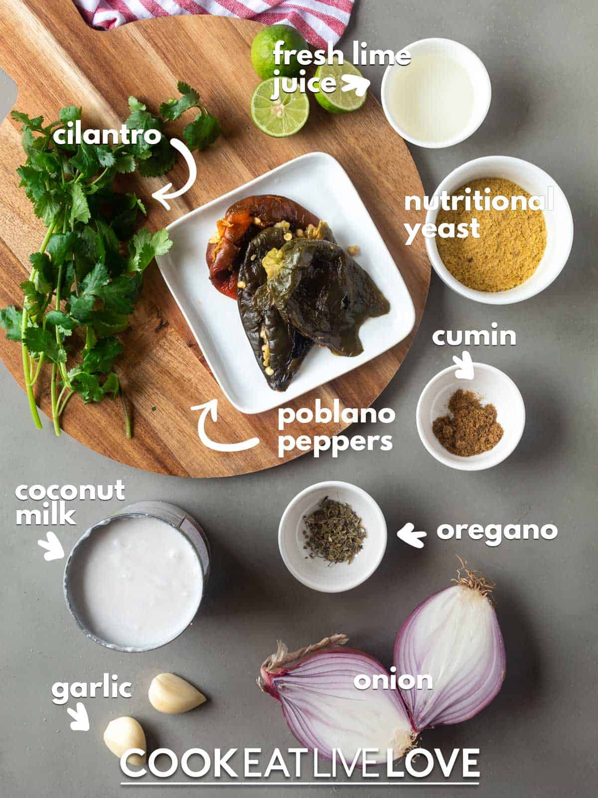 Ingredients to make poblano sauce recipe on the table with text lables