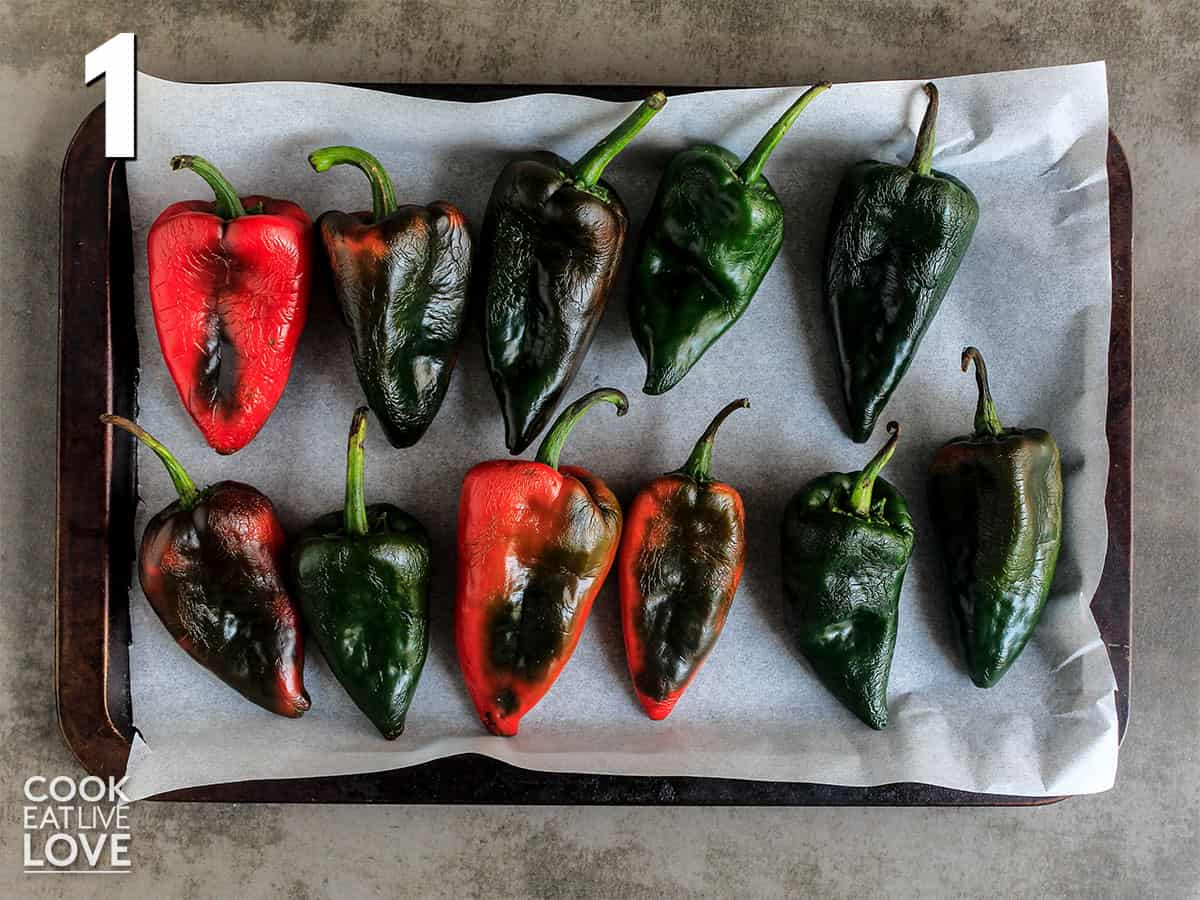 Poblano peppers lined up on a tray