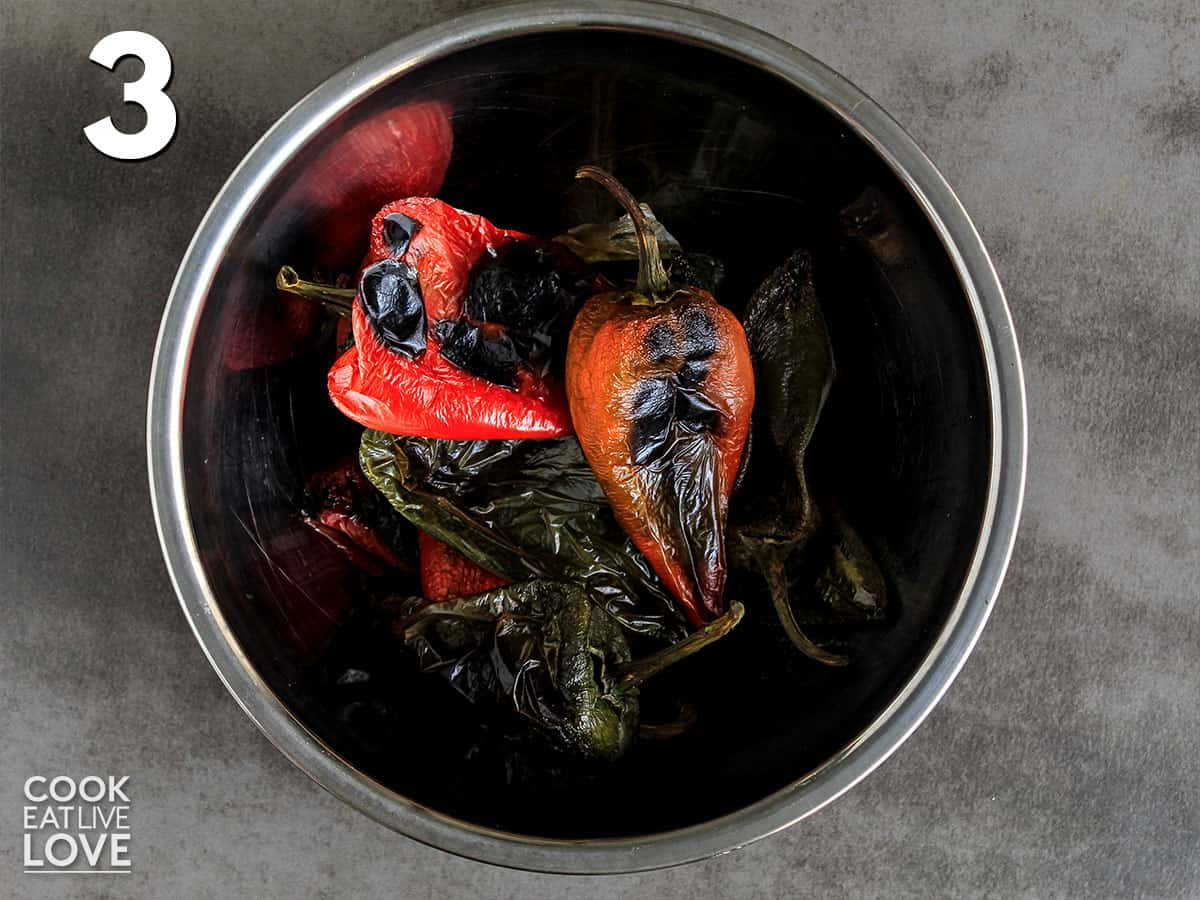 Roasted poblano peppers in a bowl