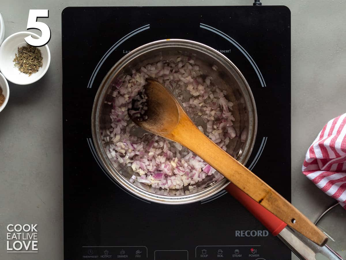 Onions cooking in a pot