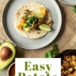 Pin for pinterest graphic with potato tacos on the dinner table