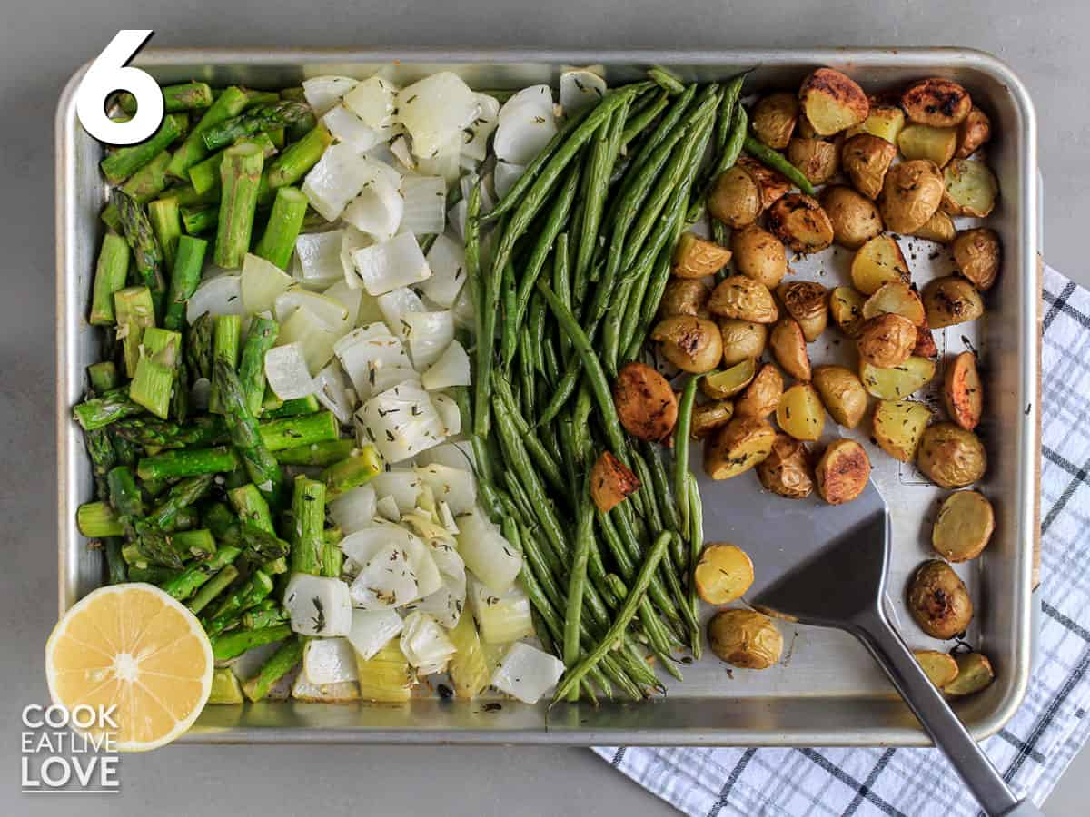 Veggies are finished cooking on baking sheet