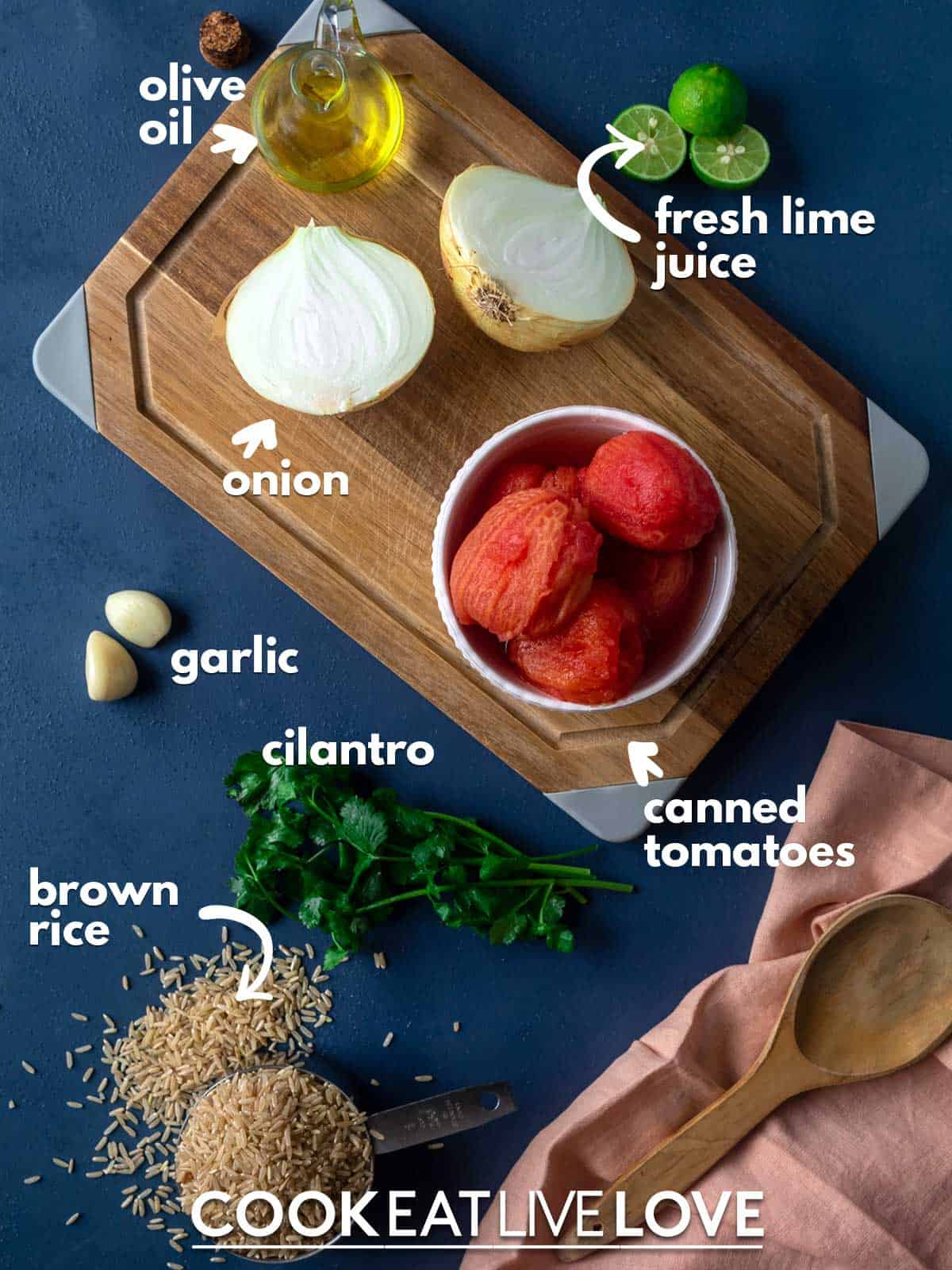 Ingredients to make spanish rice instant pot on the table