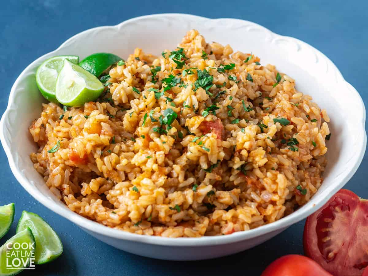 Spanish rice made in instant pot served up in a white bowl
