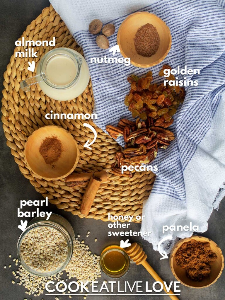Ingredients to make barley porridge on the table