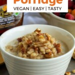 Pin for pinterest graphic with image of barley porridge and text