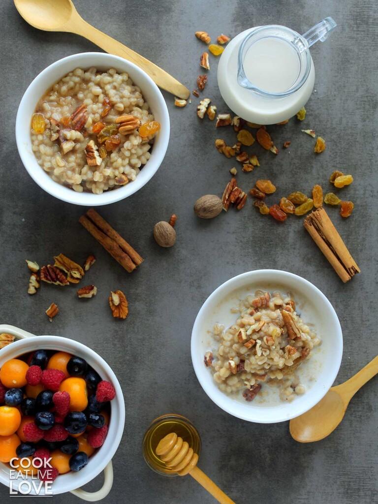 Breakfast table with barley porridge and fruit