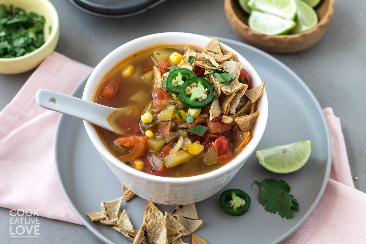 Bowl of taco soup with spoon in the soup