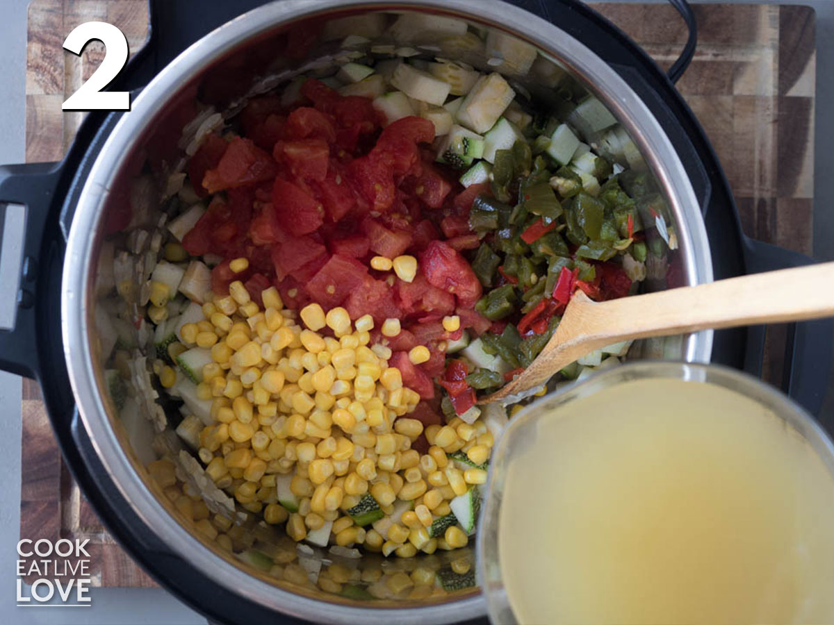 Adding the other ingredients and vegetable broth