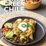 Pin for pinterest graphic for vegetarian green enchiladas