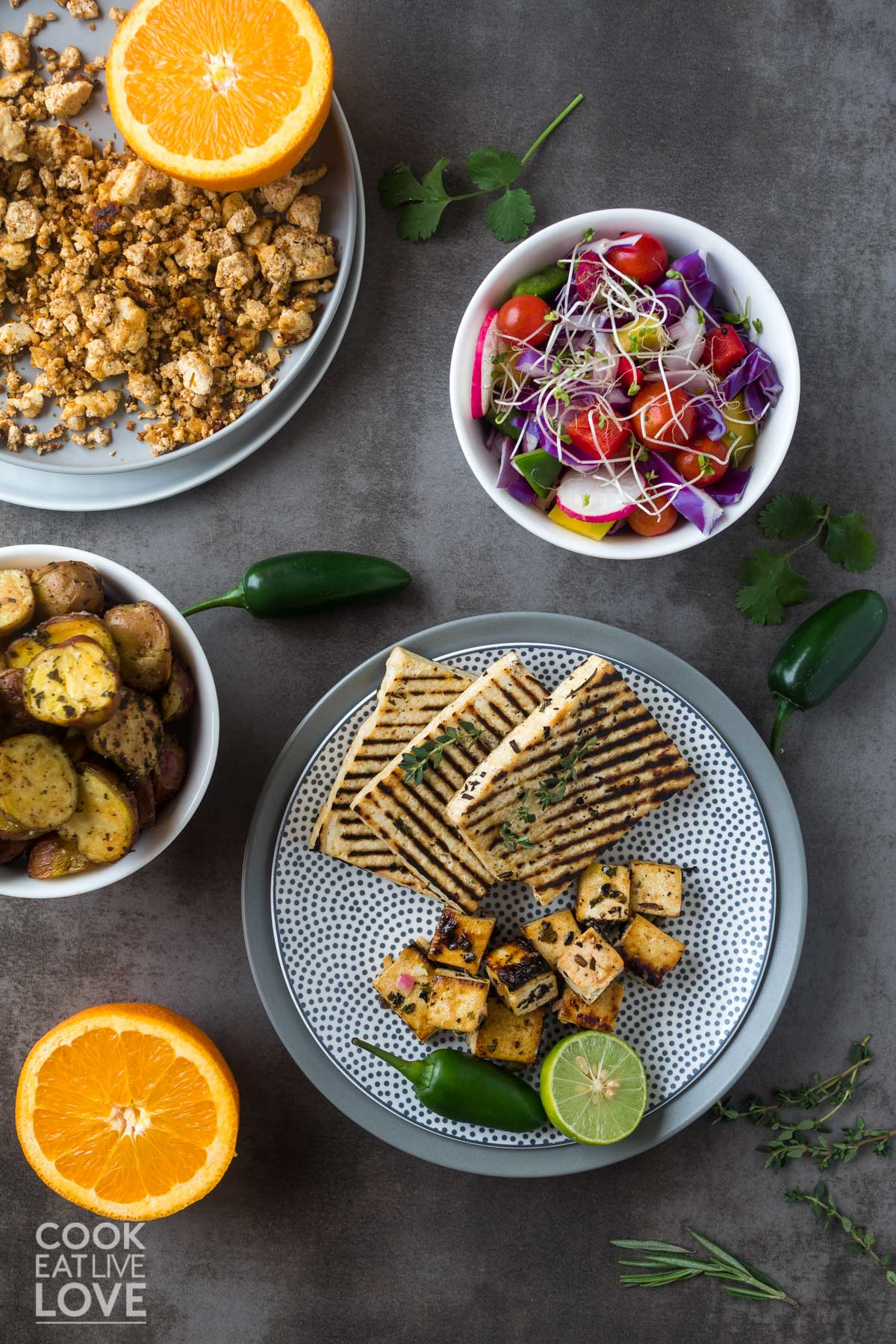 All the tofu marinades and different ways to cook tofu on plates and bowls