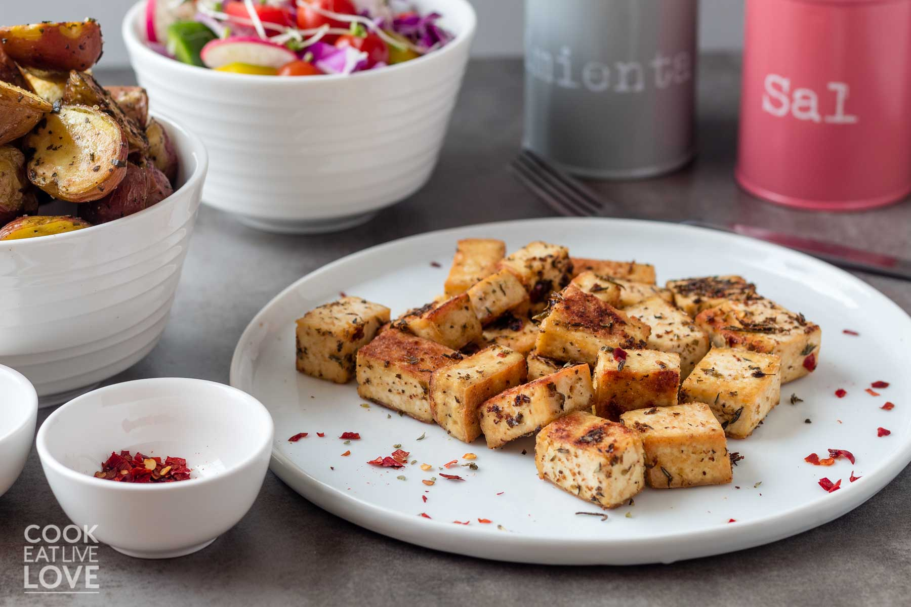 Cubes of marinated tofu on a plate