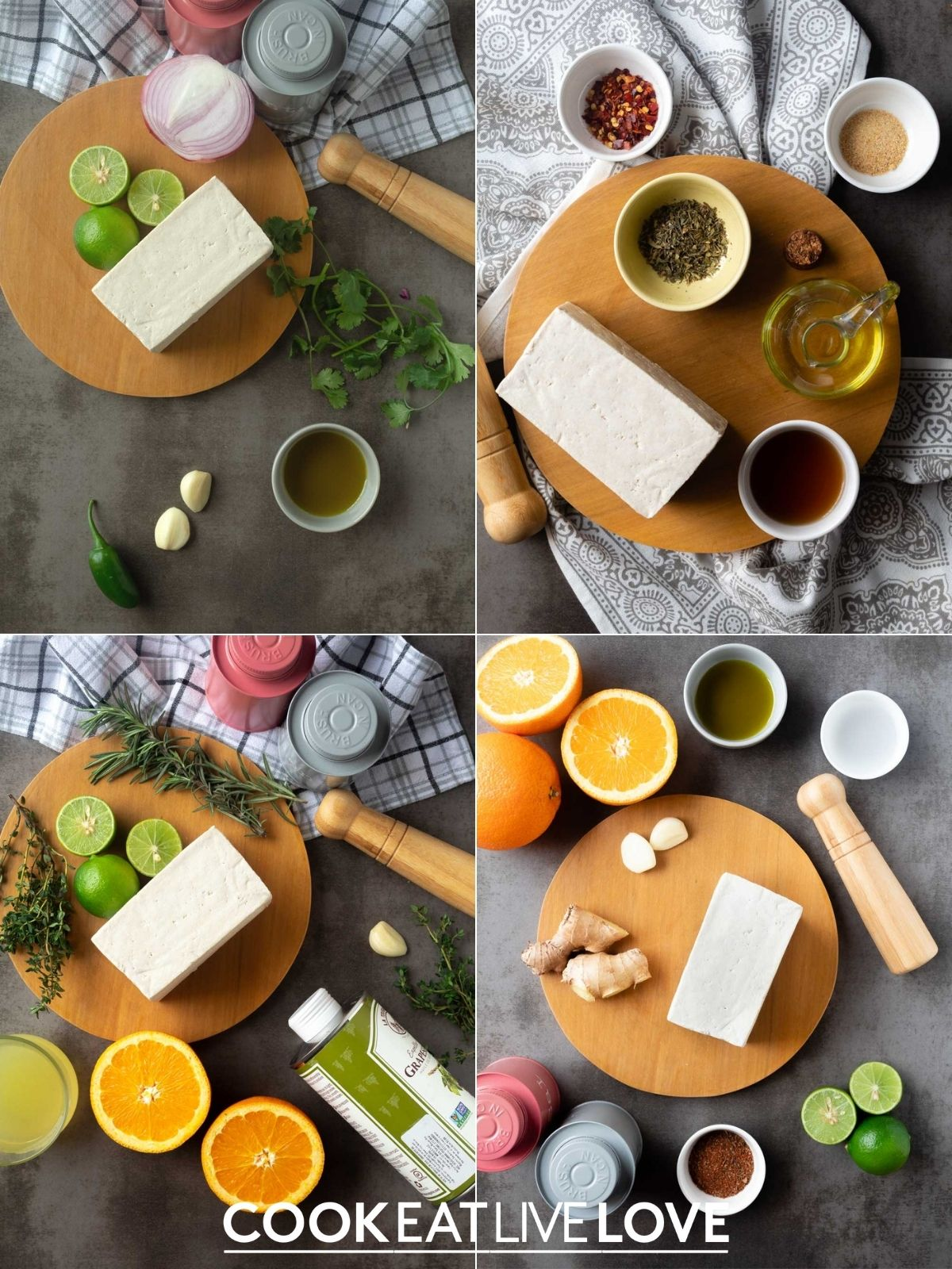 Collage of ingredients to make each of the four easy tofu marinades