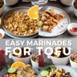 Pinterest graphic with images of tofu prepared with each marinade and text on top