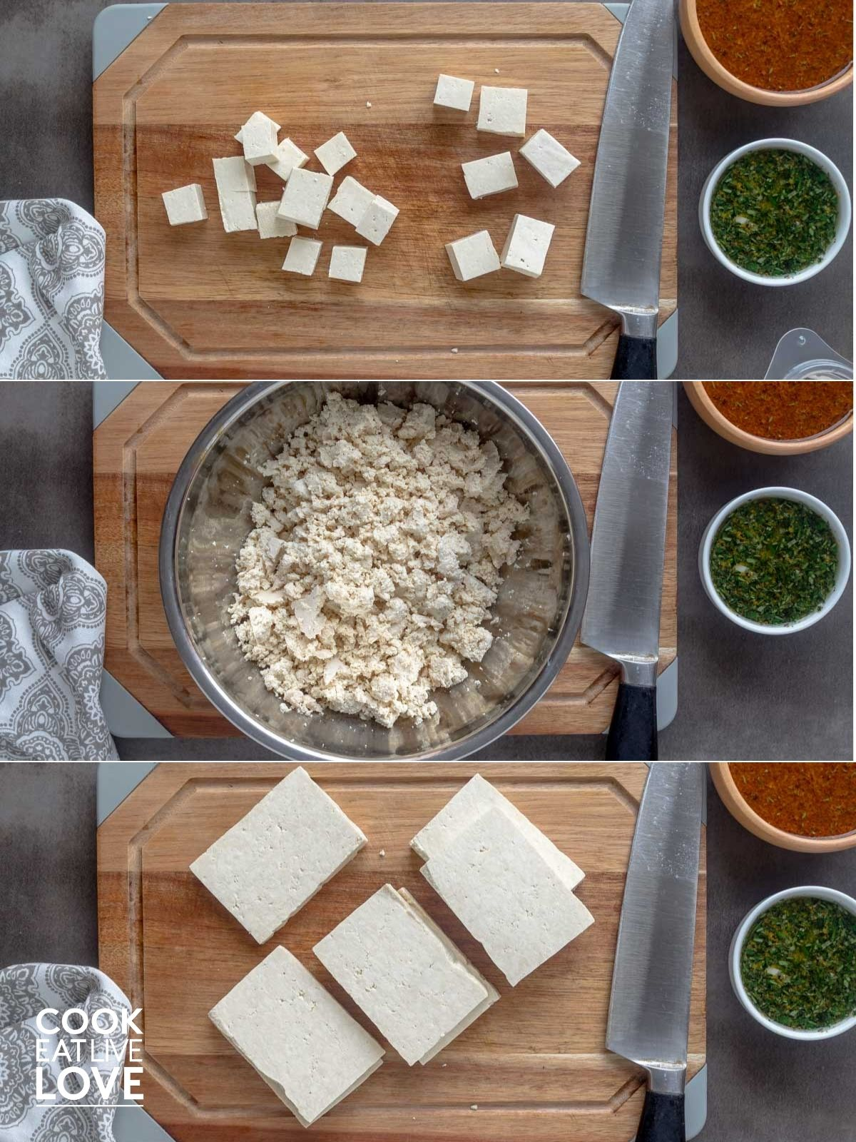 Collage of three different ways to cut tofu, cubes, crumbles and slices