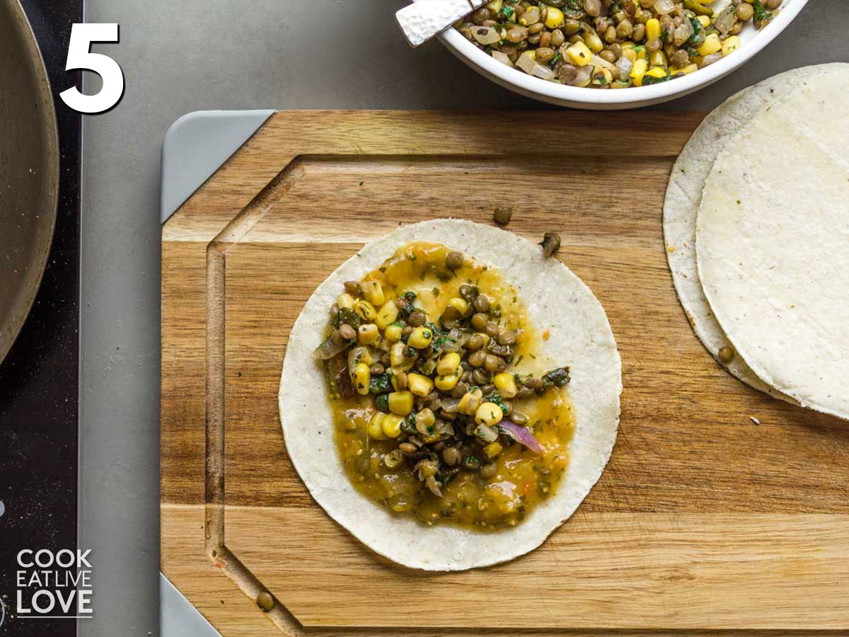 Filling added to top of tortilla